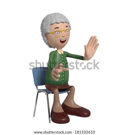 Cartoon of elderly lady in green cardigan sitting on chair while talking - stock photo