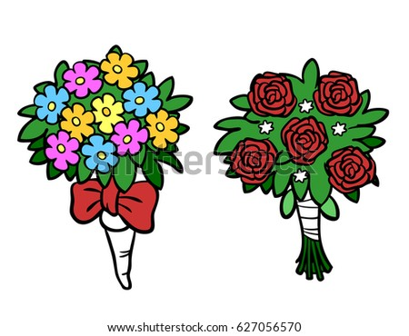 Cartoon Of Flower Bouquets For Wedding Valentine Day Or Mothers