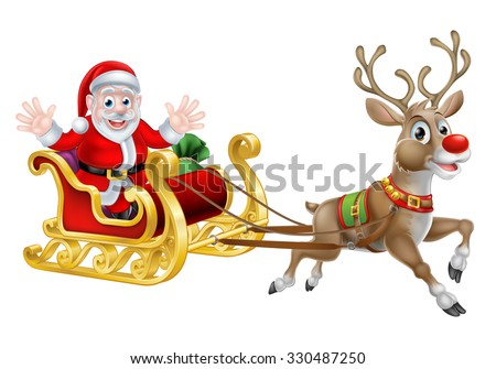 Cartoon of Santa and his reindeer with his Christmas sled - stock photo