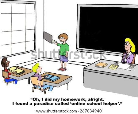 Cartoon of student telling the teacher and other students that he did his homework through the help of the internet, he found a paradise called 'online school helper'. - stock photo