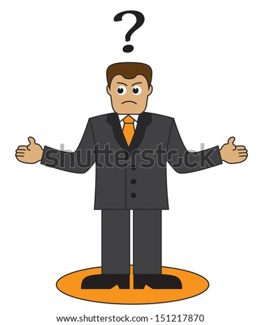 Cartoon office worker throws up his hands. Above his head businessman question mark - stock photo
