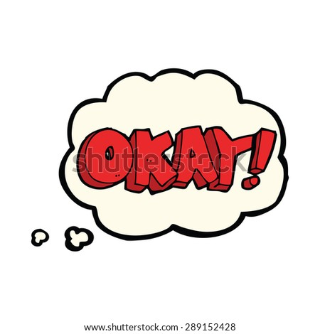 cartoon okay sign with thought bubble - stock photo