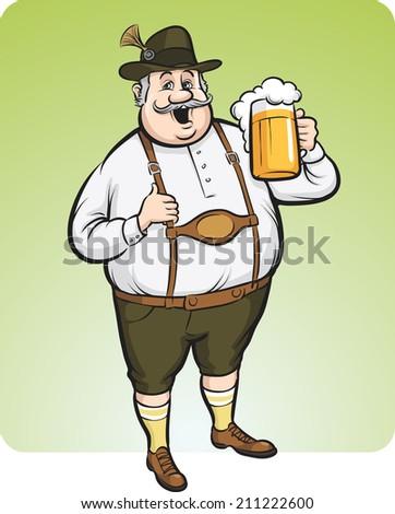 cartoon oktoberfest man with beer - stock photo
