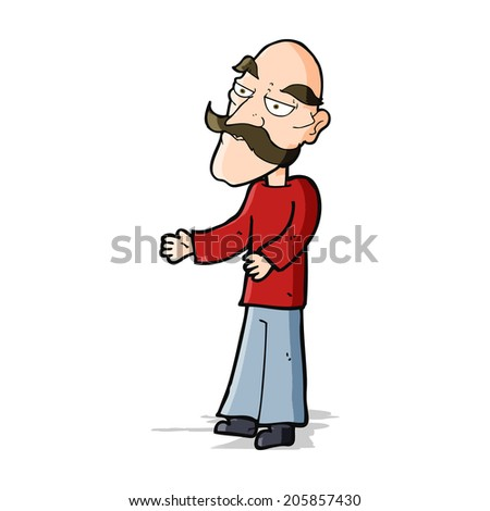 cartoon old man with mustache - stock photo