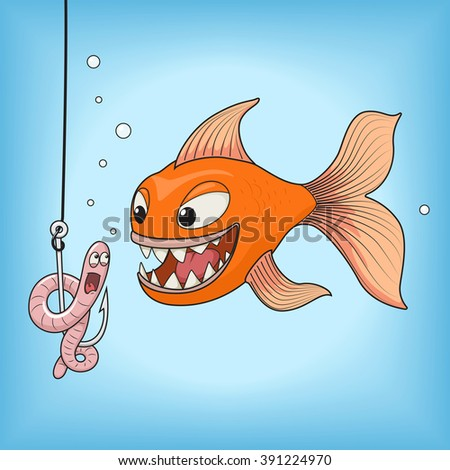 Cartoon orange fish hunts on a pink worm raster illustration. Fun, fishing, hook underwater. - stock photo