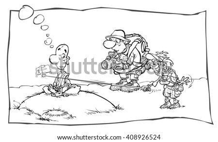 Cartoon outline illustration of a Buddhist monk and a tourist couple. - stock photo