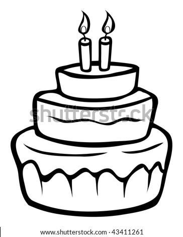 Cartoon Outline Vector Illustration Birthday Cake Stock Illustration