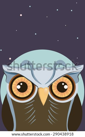 Cartoon Owl in the Moonlight, This is a vintage style cartoon owl in the moonlight sky. - stock photo