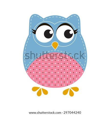 Cartoon owl. Raster version - stock photo