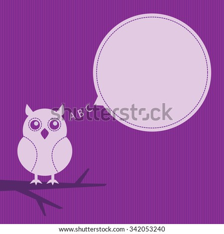 cartoon owl sitting on a branch with speech bubble - stock photo