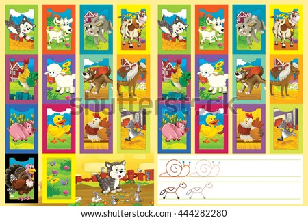 Cartoon page with comparing game - or cards set and additional coloring task - illustration for children - stock photo