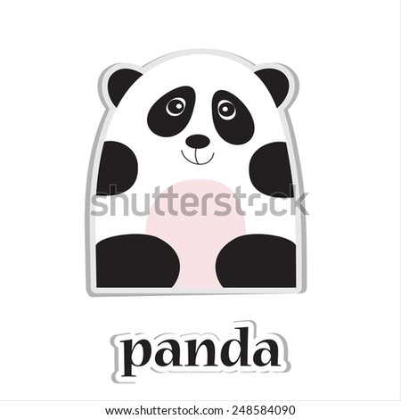 Cartoon panda isolated on white. Education design.  - stock photo