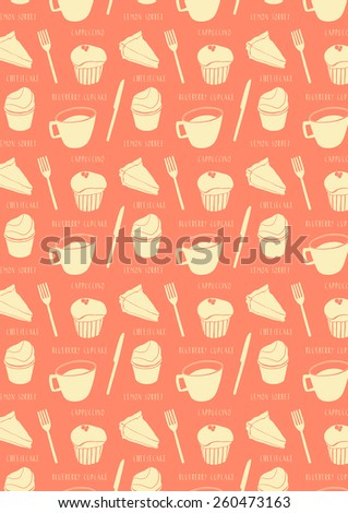 Cartoon pattern background with sweets and cups