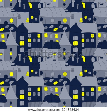Cartoon pattern with tiny vector houses and trees at night. Hand drawn seamless ornament can be used for web page textured backgrounds, pattern fills, design projects, textile, wrapping, wallpaper - stock photo