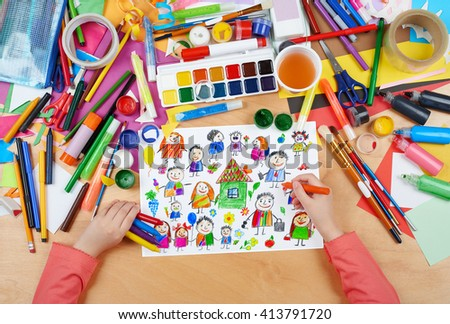 cartoon people collection child drawing, top view hands with pencil painting picture on paper, artwork workplace - stock photo