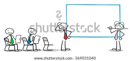 Cartoon people group at business training in seminar with coach