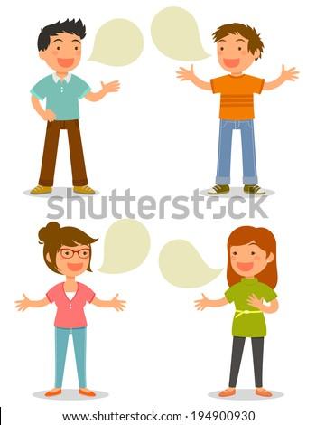 cartoon people talking happily - stock photo
