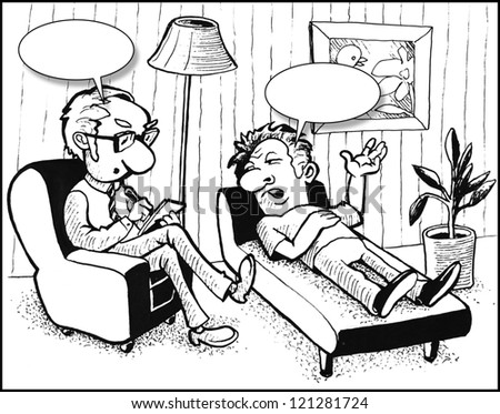 Cartoon picture about psychiatrist and patient - stock photo
