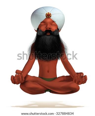 Cartoon picture of yogi sitting in lotus position - stock photo