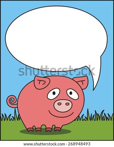 cartoon pig says, bubble speech, box for your text
