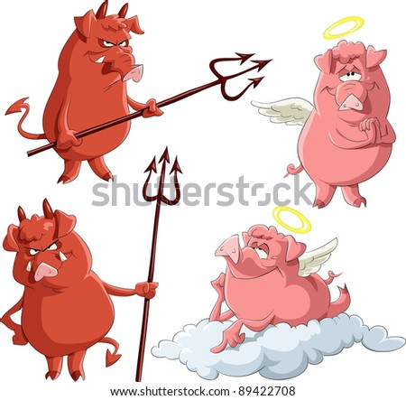 Cartoon piglets Angels and Demons, raster - stock photo