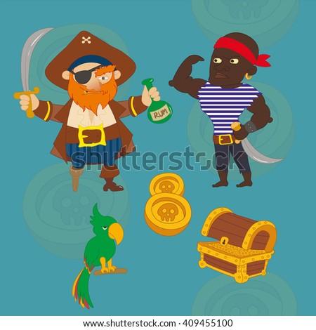 Cartoon pirate, sailor, parrot, treasure chest, gold, silver. Raster illustration.   - stock photo