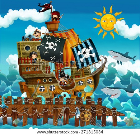 Cartoon pirate ship - illustration for the children - stock photo