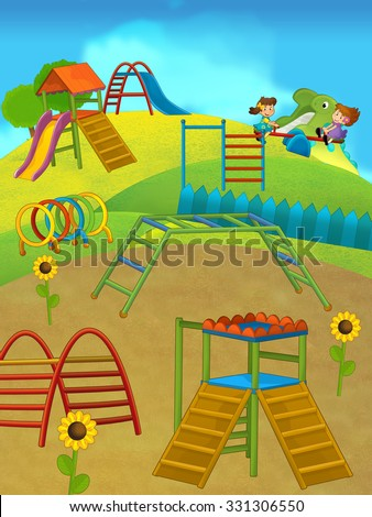Cartoon playground - illustration for the children