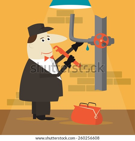 Cartoon plumber holding a wrench.  - stock photo
