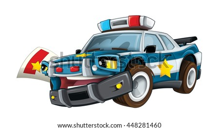 Cartoon police car giving ticket - isolated - illustration for the children