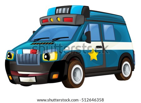 Cartoon police car - van - isolated - illustration for children