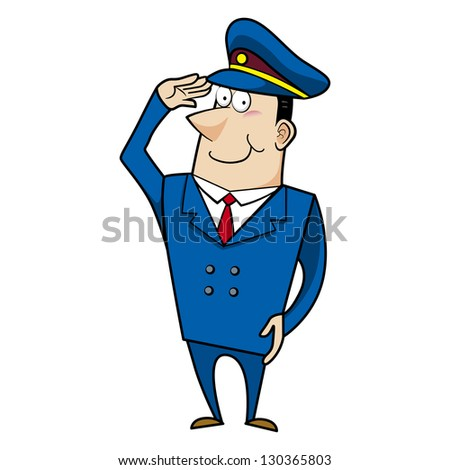 Cartoon police officer man saluting.