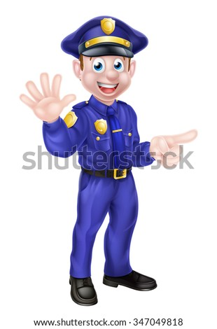 Cartoon policeman character waving and pointing or doing a stop gesture to draw attention to something he is pointing at