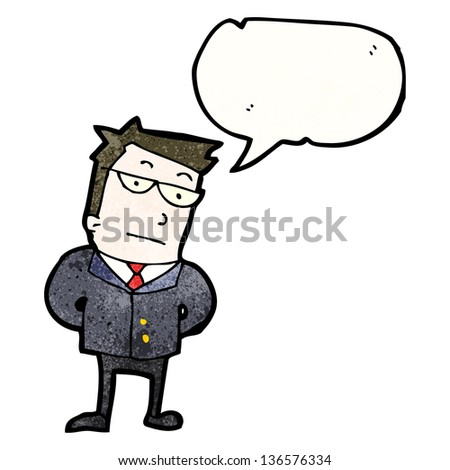 cartoon professional businessman with speech bubble