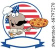 Cartoon Proud African American Chef Inserting A Pepperoni Pizza In Front Of Flag Of USA - stock photo
