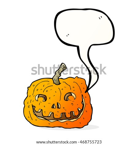 cartoon pumpkin with speech bubble