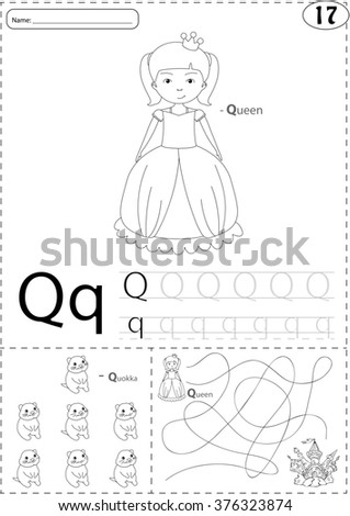 Cartoon Queen And Quokka Alphabet Tracing Worksheet Writing A Z Coloring Book Educational