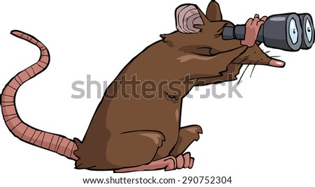 Cartoon rat looking through binoculars raster version - stock photo