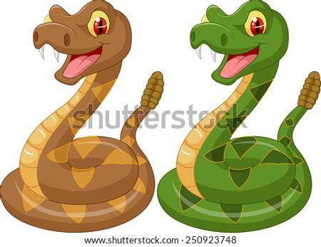 Cartoon rattlesnake - stock photo