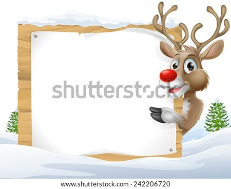 Cartoon reindeer Christmas Sign of a cute cartoon Christmas Reindeer peering around a snowy sign and pointing - stock photo