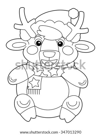 Cartoon reindeer - isolated - coloring page - illustration for the children - stock photo