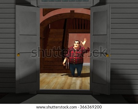 cartoon rendered illustration of a man greeting people at the front door of his home - stock photo