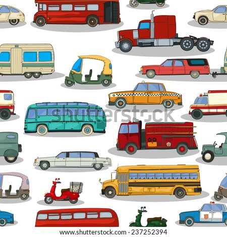 Cartoon retro cars seamless pattern
