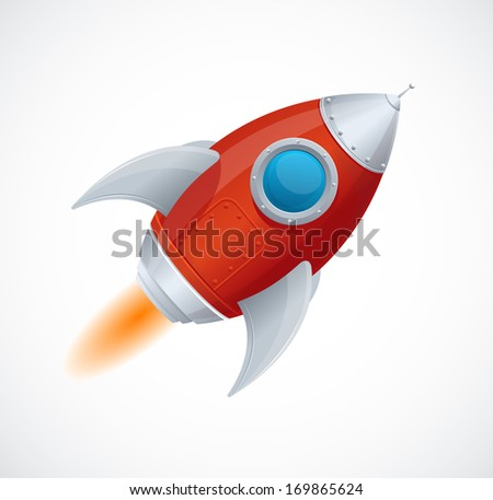 Cartoon retro iron spaceship isolated on white - stock photo