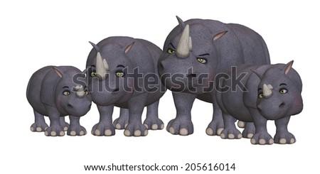Cartoon rhino family - stock photo