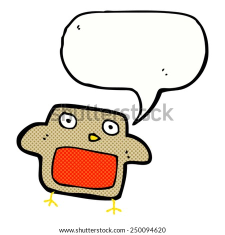 cartoon robin with speech bubble - stock photo