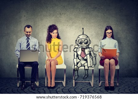 Cartoon robot sitting in line with applicants for a job interview