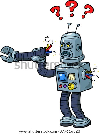 Cartoon robot with a broken arm raster version - stock photo
