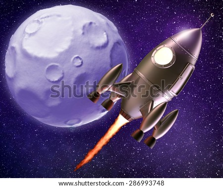 Cartoon Rocket Flying Through Outer Space - Moon in the Background - stock photo