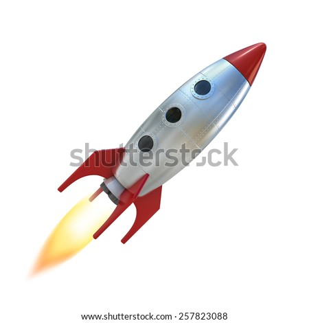 cartoon rocket space ship - stock photo